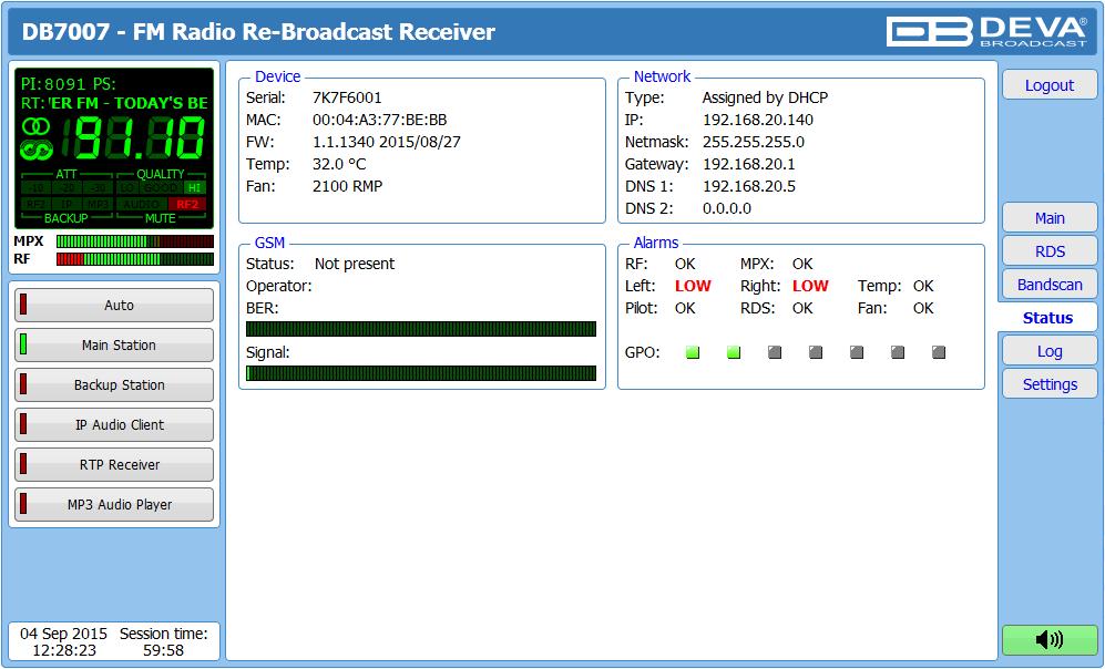 DEVA Broadcast - Products - FM Radio Monitoring - DB7007
